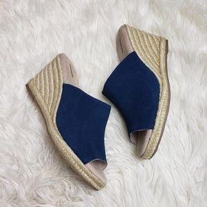 Sonoma Navy Blue Espadrille Wedge Slide Sandals